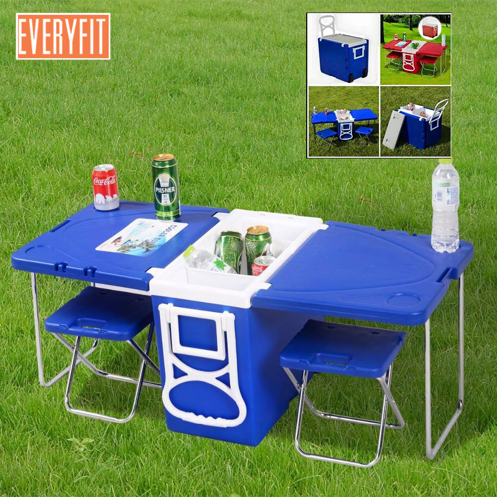 Everyfit 28L Multi-function Rolling Cooler , Outdoor Barbecue Picnic Folding Table, Freezer, Trolley Travel Fishing Car