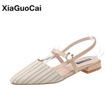2019 Summer Women Sandals Newest Female Shoes Sexy Ladies Flats Lightweight Pointed Toe Shallow Stripe Leisure Woman Sandalias