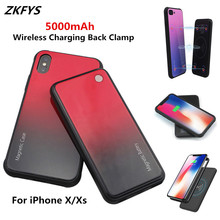 ZKFYS 5000mAh Large Capacity Portable Power Bank Case For iPhone X Xs  Wireless Magnetic Ultra Thin Fast Charger Battery Case