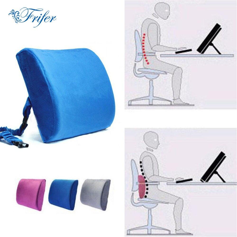 Ergonomische Memory Foam Kissen Auto Bürostuhl Rücksitzkissen Doppelschnalle Rückpralldruckmassage Rückenlehne Taille Kissen