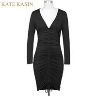 Kate Kasin Office Ladies Solid Long Sleeve V Neck Bodycon Vestidos 2017 Autumn Women Pleated Design