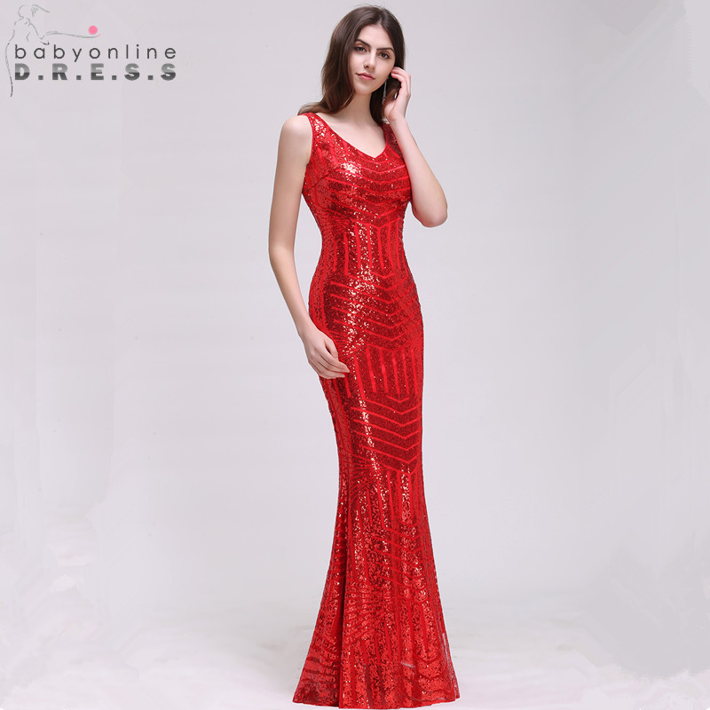 Fashion Reflective Dress Elegant Sequin Mermaid Evening Dress Sexy Illusion Back Tank Sleeve Evening Gowns Robe