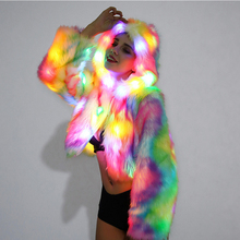New Style 2017 Christmas Multicolor Clothes Hooded Women LED Luminous Faux Fur Coat Lady Bar dance show nightclub Clothes PC282