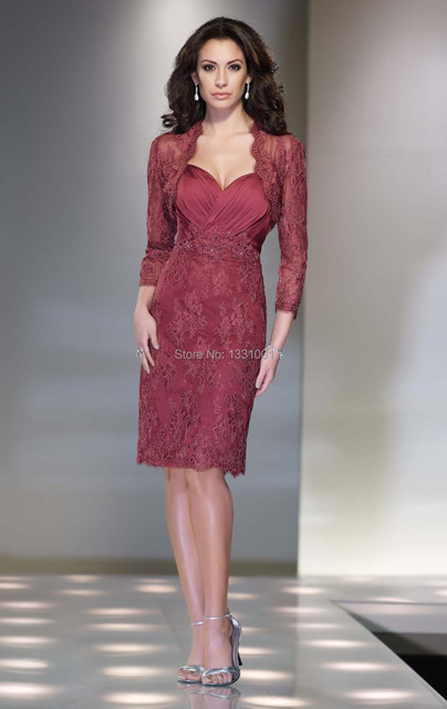 Vestido Social Mother Of The Bride Dresses With Jacket Knee Length ...