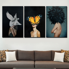 Abstract Nordic Posters HD Prints Creative Sexy Women Flower feather Print Oil Painting Canvas Wall Art Pictures Home Decoration
