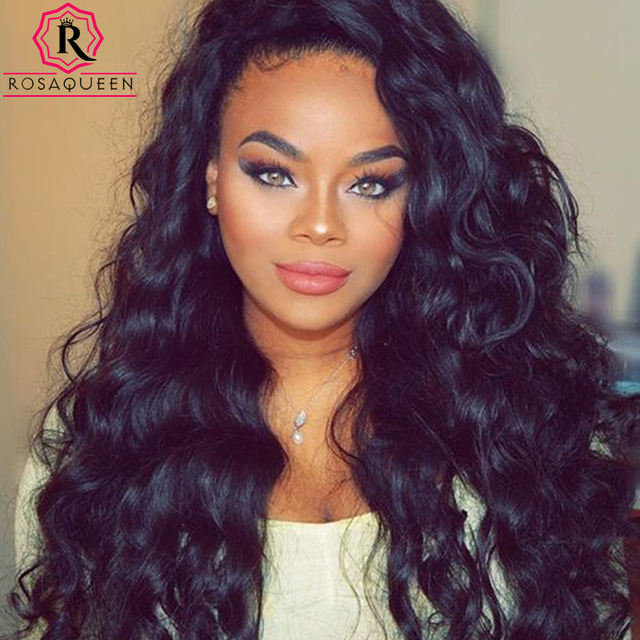 7A Glueless Full Lace Human Hair Wigs For Black Women Loose Curly Wave Lace  Front Human 94937c55b
