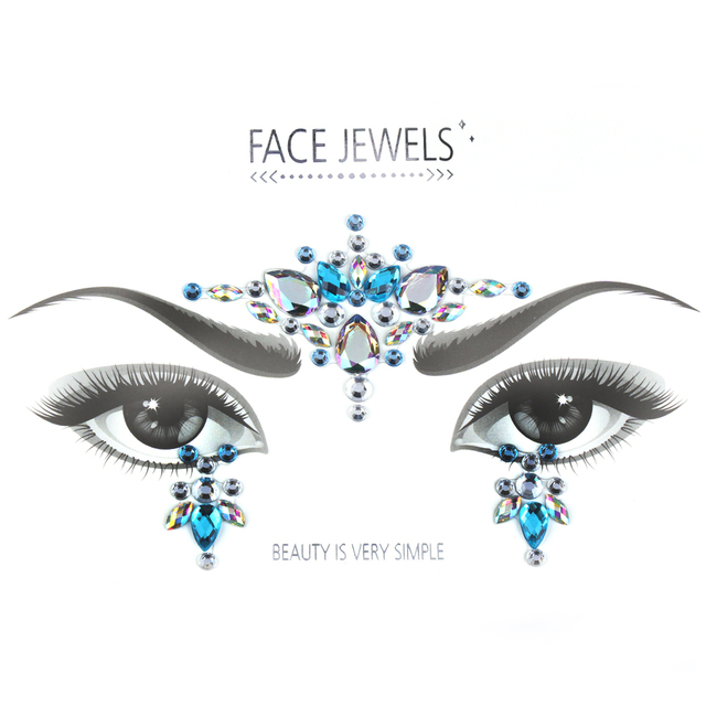 1 Sheet Handpicked Bohemia Tribal Style 3D Crystal Sticker Face And Eye Jewels Forehead Stage Decor Temporary Tattoo Sticker
