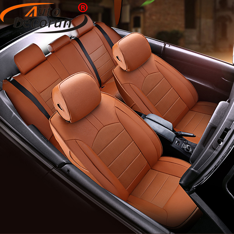 AutoDecorun 16PCS/Set Perforated Cowhide Seat Covers For