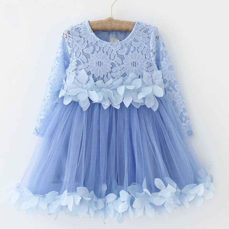 554964f3a15c ... Spring Autumn New 2018 Girl Clothes Winter Wear Kids Dress Girls Lace  Flower Net Yarn Splicing ...