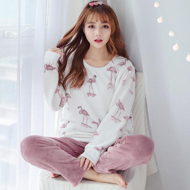 Girls Cute Cartoon Print Flannel Pajamas Sets for Women Winter Long Sleeve Thick Warm Coral Velvet Pyjama Sleepwear Pijama Mujer