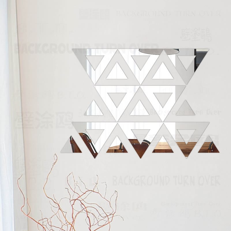 DIY Triangle Free Design 3D Decorative Acrylic Mirror Wall Stickers Living Room Bedroom Home Wall Decor Room Decoration Art R160 number