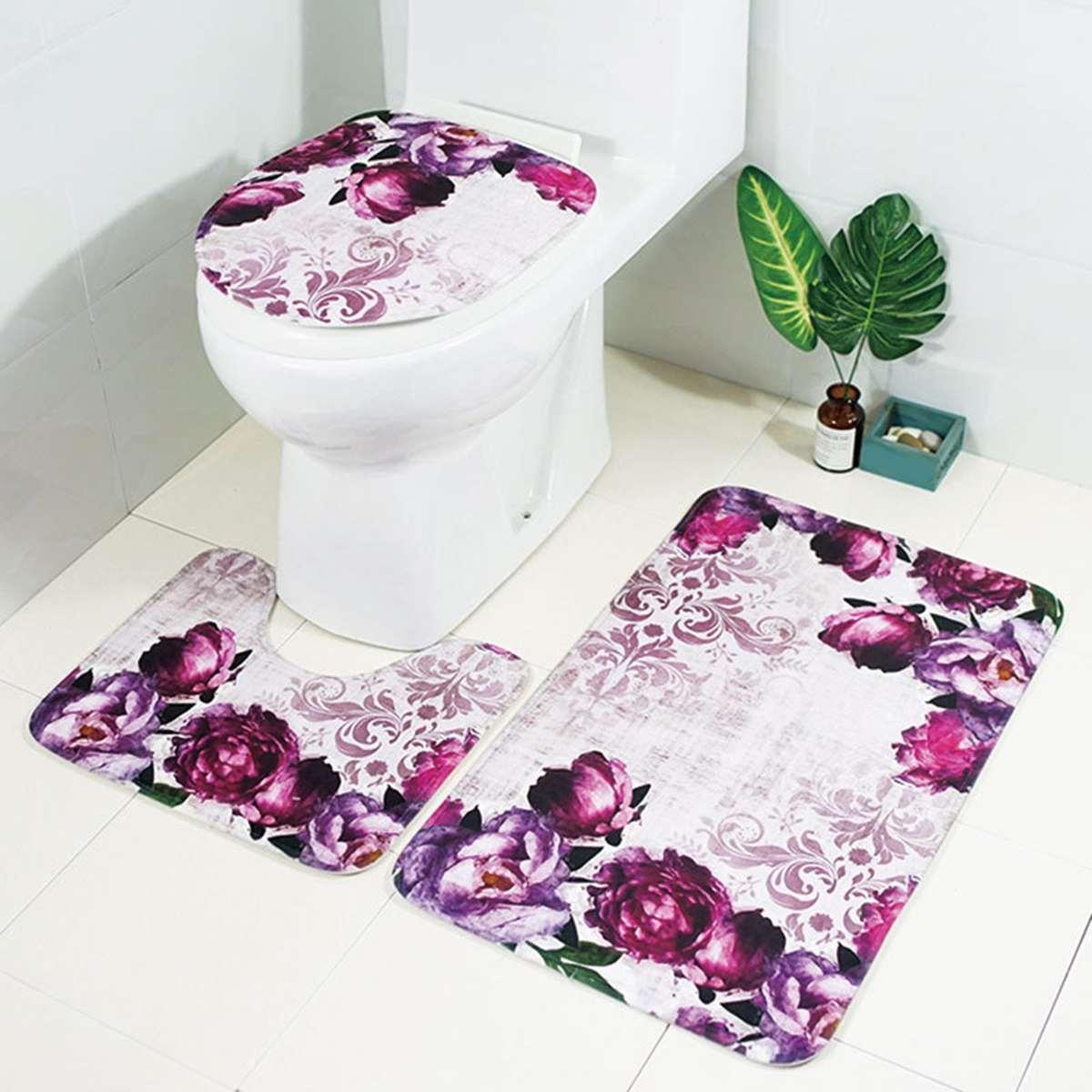 3Pcs/Set 3D Purple Flower Pattern Absorbent Bathroom Carpet Non-Slip Pedestal Floor Rug Lid Toilet Seat Cover Bath Mat