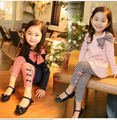 Весна и Осень 2014 новой Корейской версии детская одежда девочек костюмы большой девственный полосатый лук тонкий срез костюмы