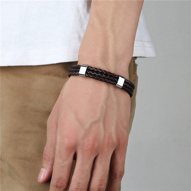 Straightly Han Edition Fashion Woven Leather Bracelet Simple Man Leather Bracelet Undertakes Accessories Wholesale