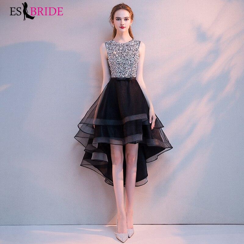 Shiny Bead Piece Black Evening Dress Short Elegant Sleeveless Lace Wedding Party Formal Dress Fashion Evening Dress ES1612