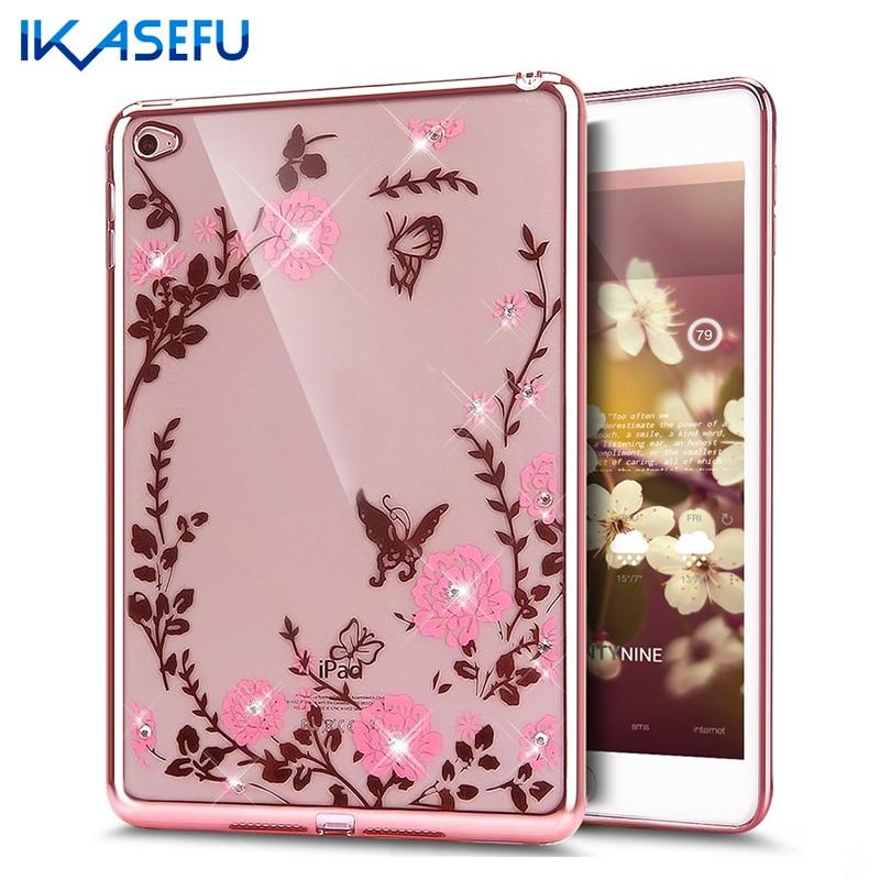 TPU Back Case Cover for iPad mini 4 mini 2 3 4 Air 2 Diamond Silicone Secret Garden Coque for Apple ipad mini 1 2 3 mini4 Floral