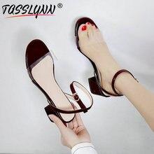 TASSLYNN 2019 Woman Sandals Back Strap Square Heels Shoes High Fashion Buckle Western Style Black Women Size 34-43