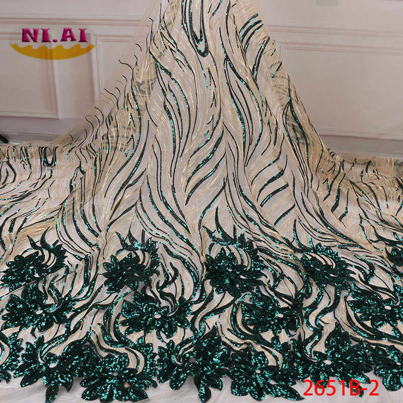 2019 High Quality African Sequins Lace Fabric French Net Embroidery Tulle Lace Fabric For Nigerian Wedding Party Dress XY2651B-2