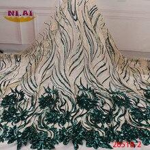 2020 Hoge Kwaliteit Afrikaanse Pailletten Kant Stof Franse Netto Borduurwerk Tule Kant Stof Voor Nigeriaanse Wedding Party Dress XY2651B 2