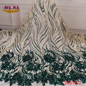 Image 1 - 2020 de alta qualidade africano lantejoulas tecido francês bordado tule tecido de renda para nigerian vestido de festa de casamento XY2651B 2
