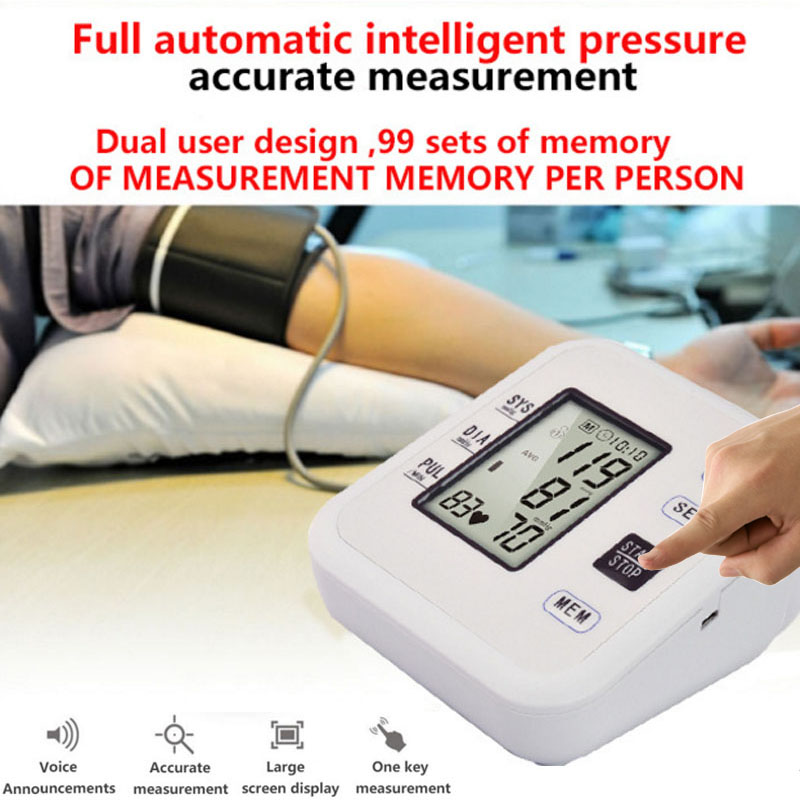 Arm Blood Pressure Pulse Monitors Digital Upper Portable Blood Pressure Monitor Meters Sphygmomanometer upper arm blood pressure monitor desktop type pulse meter auto inflate inflating deflate diflating