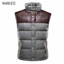 Markless 2017 Для мужчин высокого класса толщиной пуховой жилет Для мужчин зимнее пальто жилет Пух человек брендовая одежда Повседневное жилет YRA2326M