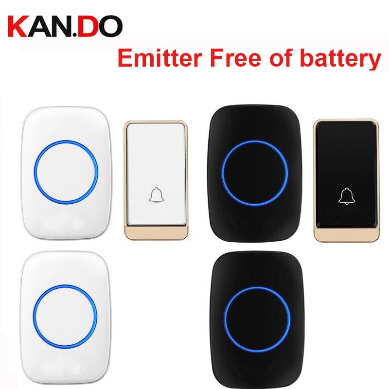 HOT Wireless Door Bell Set 2 RX Emitter Free Of Battery Wireless Doorbell Ip44 200M Work Door Chime Door Ring Receiver 110-240V