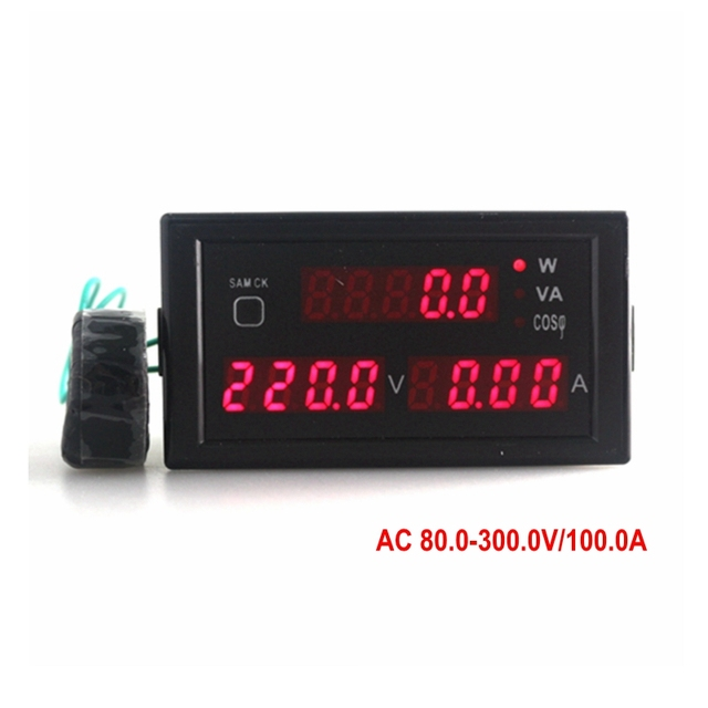 AC 80-300V 0-100A Digital Volt Amp Watt Meter with Red LED Display / Active Power / Apparent Power / Power Factor Free Shipping
