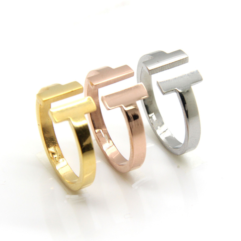 Loss Money Sales Brand Fashion Women T Rings Stainless Steel Jewelry For Woman