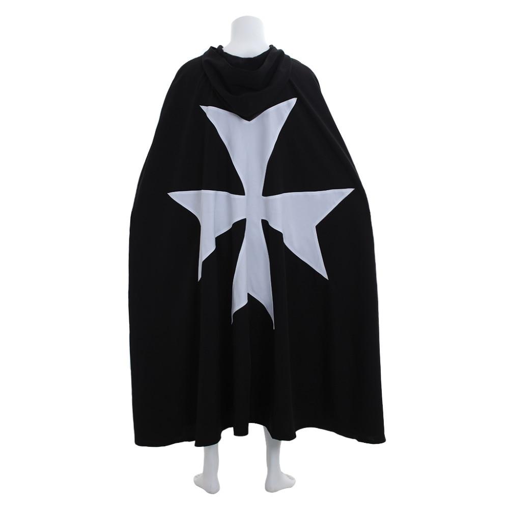 Men's Medieval Knights OF ST. JOHN Cape Warrior Men Costume Templar Crusader Knight Cape Halloween Costume