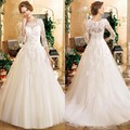 Elegant A Line Princess Wedding Dresses White Beaded Sequin Tulle Vintage Lace Wedding Gowns Three Quarter Gowns
