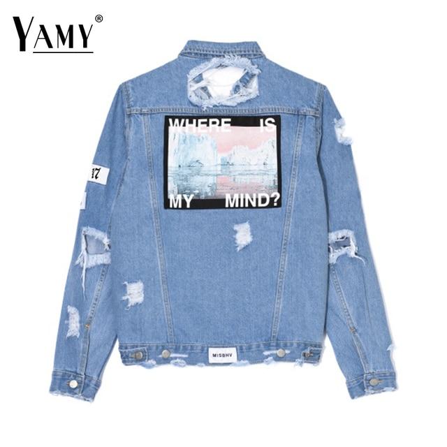 a8c2995157f New Winter women denim Jacket WHERE IS MY MIND  letter print women ripped  jeans jacket