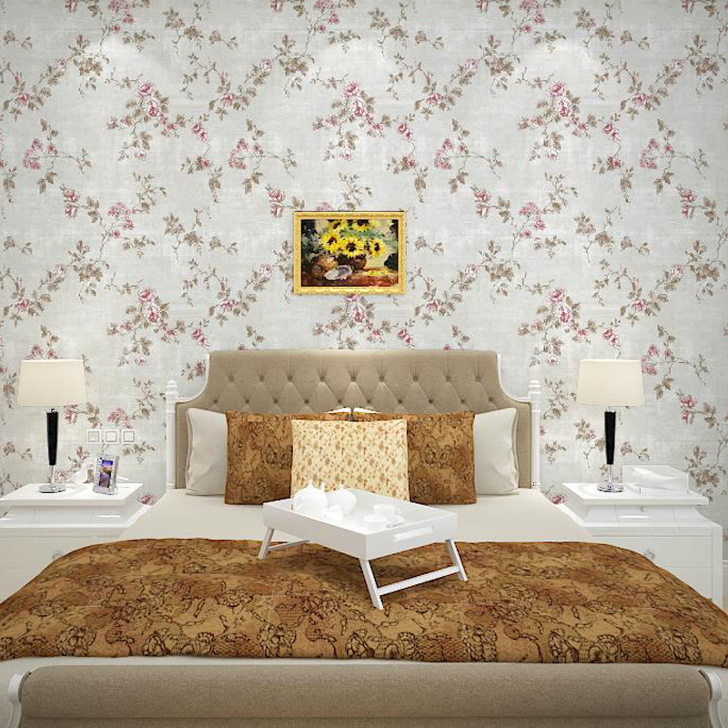 Flowers Wall Wallpapers Design For Your Bedrooms Decorating: Yellow, Green, Pink, Beige Country Garden Floral Wallpaper