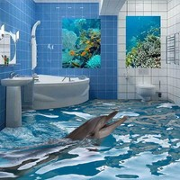 2016 Wear-resisting 3D mural Cartoon Dolphin Floor Wallpapers For Bedroom Bathroom Wall Stickers Removable Waterproof Home Decor