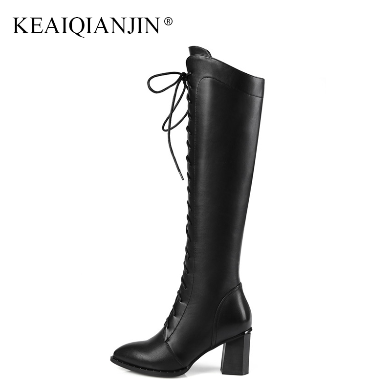 KEAIQIANJIN Woman Black Genuine Leather Knee High Boots Plus Size 34 - 42 Autumn Winter Shoes Genuine Leather Knee High Boots цена