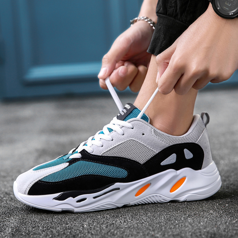 New Men s Sports Shoes Trend Light Breathable Adult Running Shoes Brand Lace up Non slip