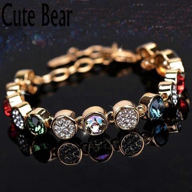 Cute Bear Brand Women Bracelet Romantic Fashion Crystal Bracelet Women  Birthday Gift Gold And Silver Chain Bracelets Jewelry 2049fdd8f0
