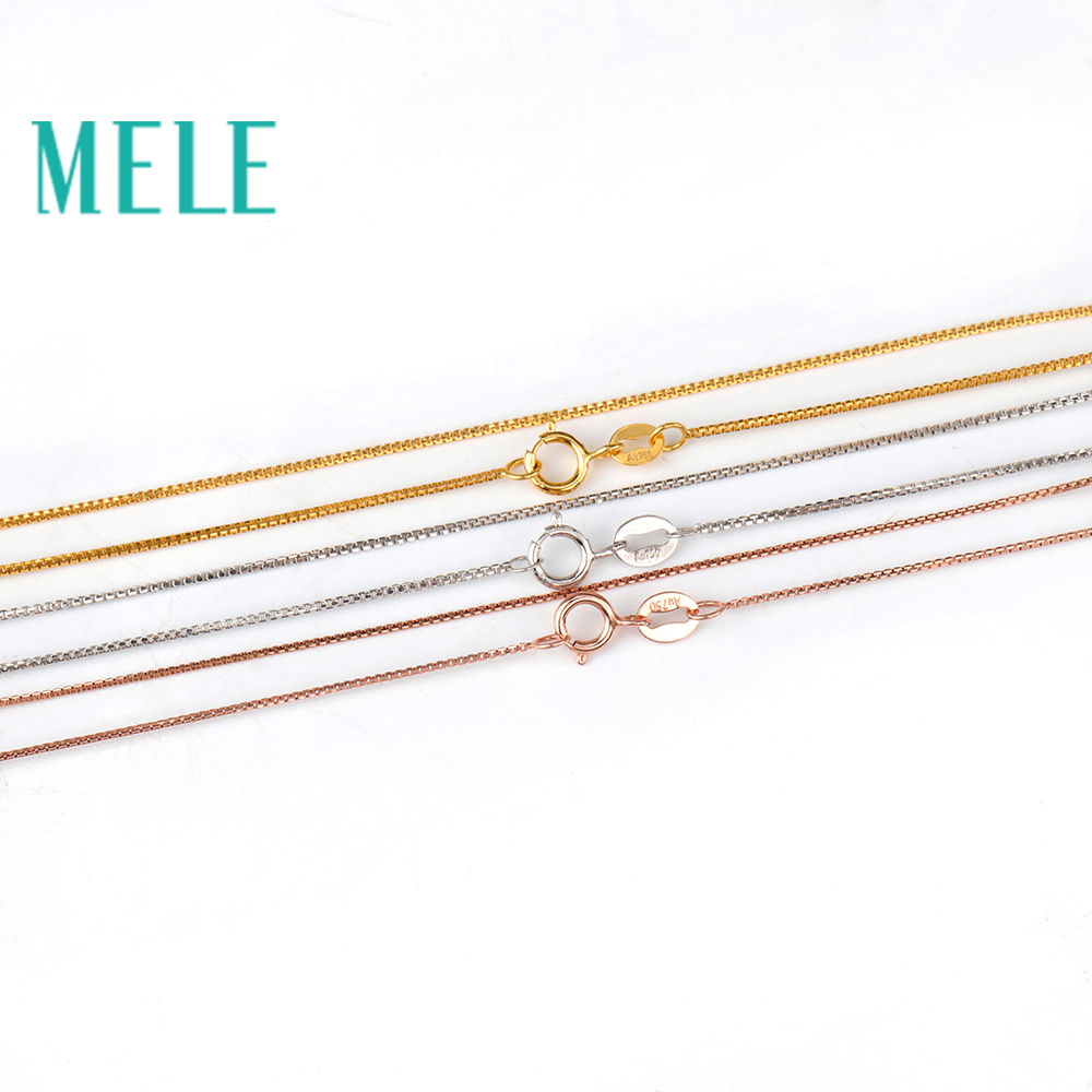 MELE real 18K gold box chain for jewelry pendant,yellow gold rose gold and platinum vegetarian necklace for accessories 18K DIY брелок dt tk0124 18k diy