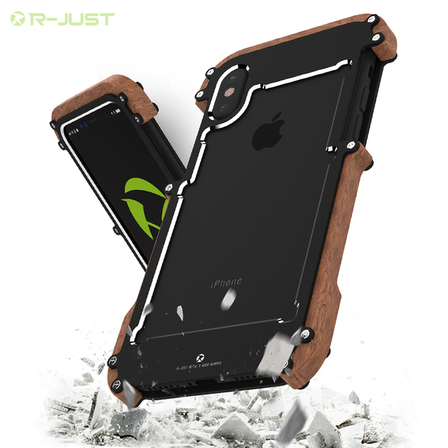 brand new c9cf9 95863 US $15.53 26% OFF|Phone Case For iPhone X Natural Wood Case For iPhone X  Aluminum Metal Case Frame Original R Just Phone Cases Accessories-in ...