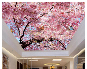 beibehang High decorative painting wallpaper beautiful atmosphere blue sky white cherry ceiling zenith for walls 3 d