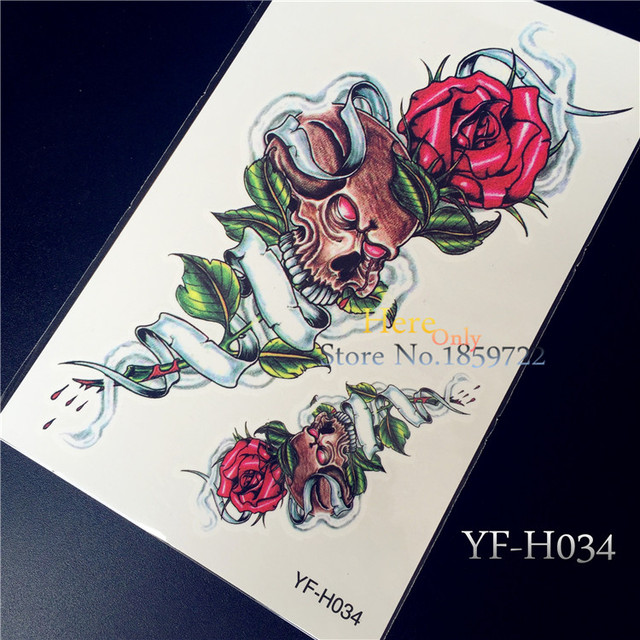 One Piece Trendy Temporary Tattoo Flower Rose Clock Jewel