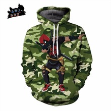 AC&DBZ New Green Camo Fashion Pocket Hooded Sweatshirt Top Deadpool DAB Street Hip Hop Luffy 3D Anime Hooded Sweatshirt