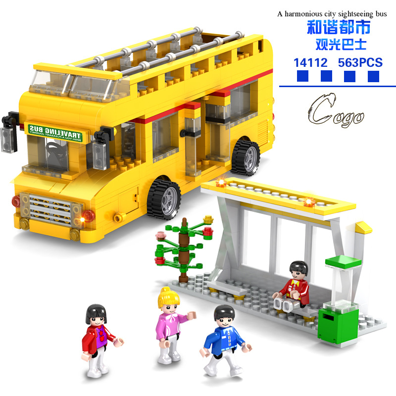 563Pcs City Sightseeing Bus Building Blocks Baby Educational Toys Urban City Series Super Big Diy Toys Children Best Gift 14112 1 43 ankai bus sightseeing tour of london bigbus big bus diecast model bus open top