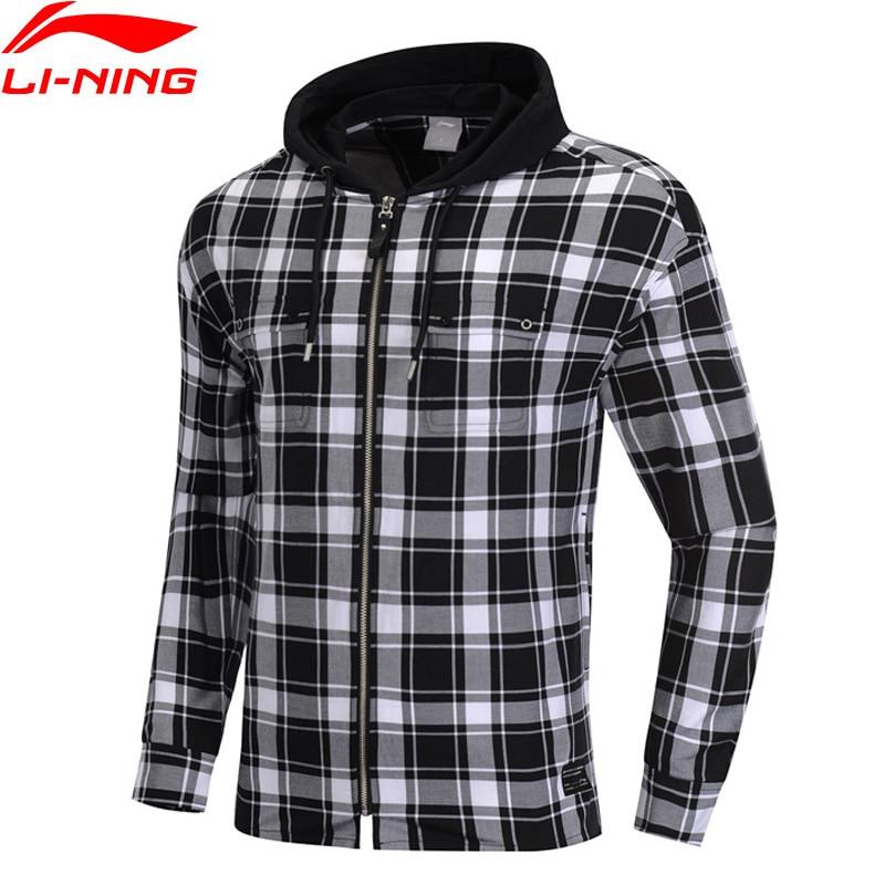 Li-Ning Men The Trend Shirt Long Sleeve Hooded Plaid Regular Fit 100% Cotton LiNing Li Ning Sports Blouse Tops ASHP001 MCL2111