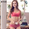 New Sexy Seamless Push Up Conjuntos de Sutiã Copo Fino Das Mulheres Das Senhoras rendas Conjunto de Roupa Interior Bonito Conjuntos de Lingerie Mulheres Bra Breve Define Íntimos