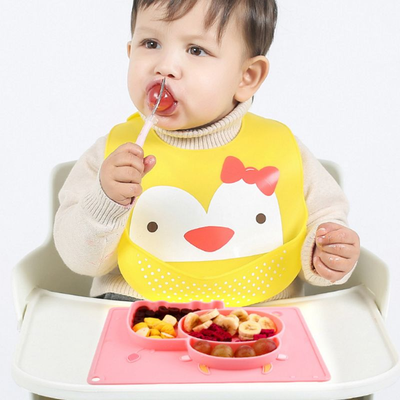 Cartoon Cow Anti Slip Silicone Food Plate Bowl Babies Toddlers Kids Feeding Tray Non odor Easy Cleaning Household Accessory in Dishes from Mother Kids