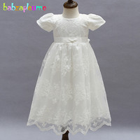 babzapleume summer baby girl 1 year first birthday wedding christening party dress tutu lace white infant baptism dresses BC1486