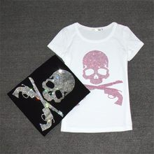 2019 Harajuku T Shirt Skull Diamonds Summer T-shirt Woman Short Sleeve Tops Women White Black Cotton Tee TShirt T-shirts 62561(China)