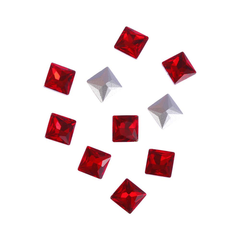 10 pièces nouveau Sexy chine rouge cristal strass Nail Art paillettes décoration bricolage carré/ovale/cheval oeil gemme 3D cristal verre pierres