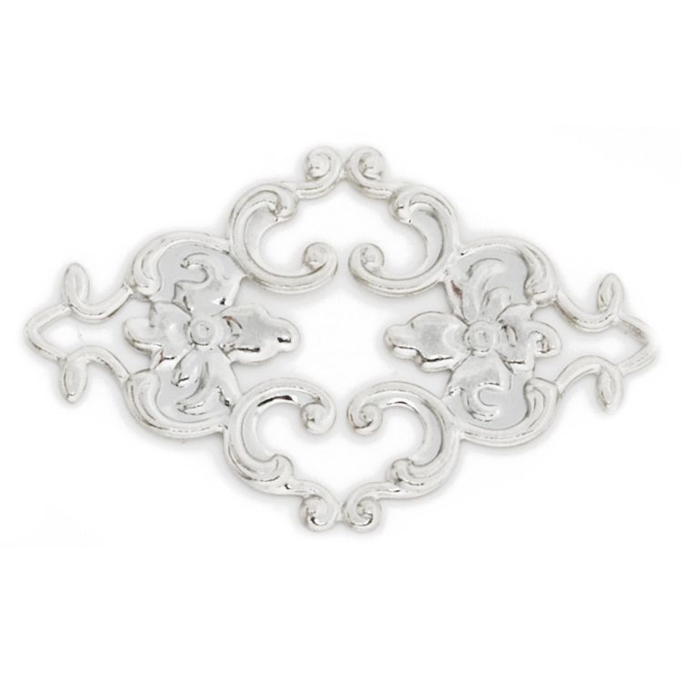36x23mm Rhombus Brass Hollow Filigree Flower Connector Link Charm Pendant White Gold, 50pcs/lot Hair Accessories Components